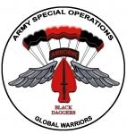 Logo, USASOC, Parachute Team Black Daggers