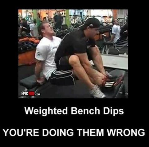 Weighted Bench Dips, Doing It Wrong